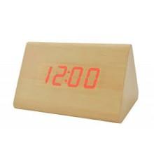 Часы настольные с будильником и подсветкой VST 864 светлое дерево (красная подсветка)