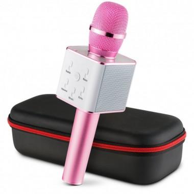 Беспроводной караоке микрофон GTM с динамиками в чехле Bluetooth USB Q7 Pink