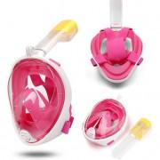 Полнолицевая панорамная маска для плавания GTM FREE BREATH (S/M) Розовая с креплением для камеры
