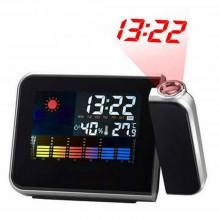 Часы-метеостанция с проектором времени и будильником VEK черные