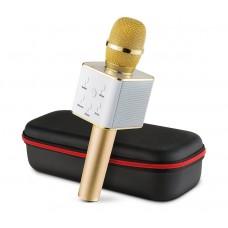 Беспроводной караоке микрофон GTM с динамиками в чехле Bluetooth USB Q7 Gold