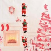 Новогодние Фигурки Деда Мороза Shine Santa (Санта Клауса) 3 шт по 25 см на лестнице