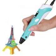 3D ручка с LCD дисплеем и эко пластиком Chilldworld для 3D рисования Голубая
