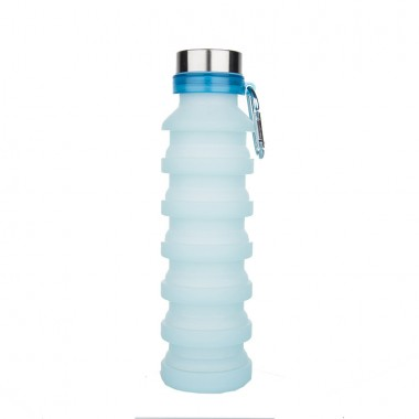 Складная бутылка для воды силиконовая 550 мл SUNROZ JL-1 Foldable Bottle Голубая