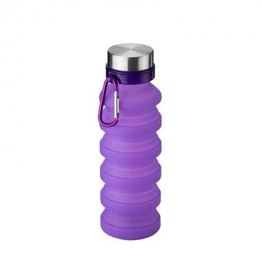 Складная бутылка для воды силиконовая 550 мл SUNROZ JL-1 Foldable Bottle Фиолетовая