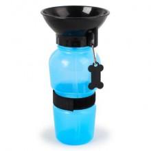 Портативная поилка для собак, прогулочная бутылка с чашей для собак 500 мл SUNROZ Dog Bottle голубая